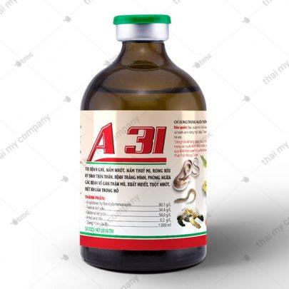 A 31 Trị bệnh ghẻ, nấm nhớt, nấm thuỷ mi, rong rêu ký sinh trên thân, bệnh trắng mình, phòng ngừa các bệnh về gan thận mủ, xuất huyết, tuột nhớt, diệt khuẩn trong hồ