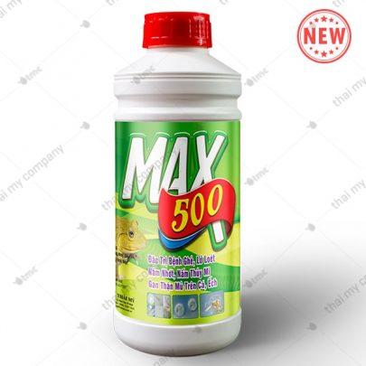 MAX 500 Đặc trị bệnh ghẻ, lở loét nấm nhớt, nấm thủy mi gan thận mủ trên cá, ếch